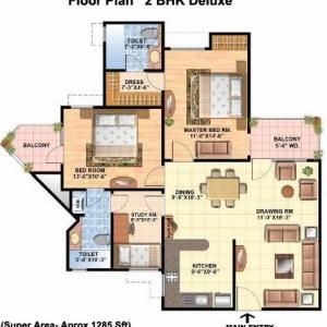 Floor Plan 2 BHK Delux
