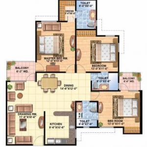 Floor Plan 3 BHK Delux