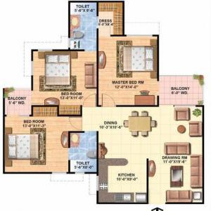 Floor Plan 3 BHK Executive